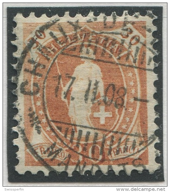 451 - Seltene 30 Rp. Stehende Helvetia Mit Faserpapier - 1882-1906 Armoiries, Helvetia Debout & UPU
