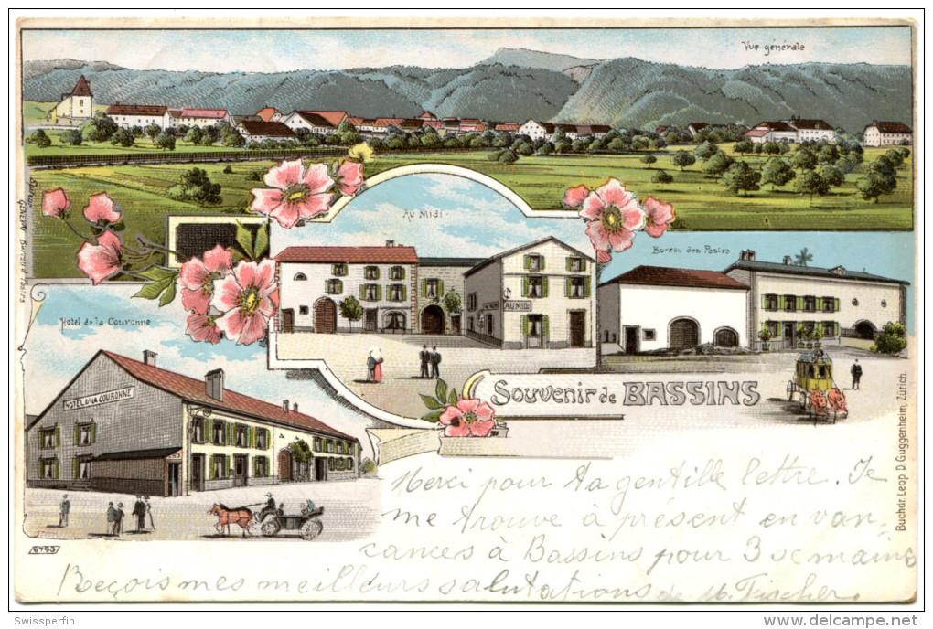 688 - Souvenir De Bassins - Litho - VD Vaud