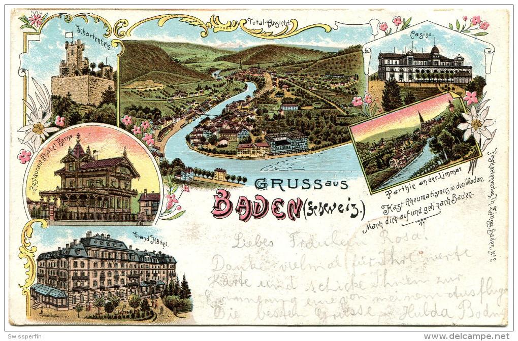 568 - Gruss Aus Baden (Schweiz) - Litho - AG Aargau