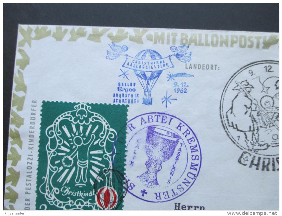 Österreich 9.12.1962 Christkindl. Weihnachtsballonpost. Abtei Krems. Mit UNterschrift Des Piloten! Ballon Ergee - 1945-.... 2. Republik