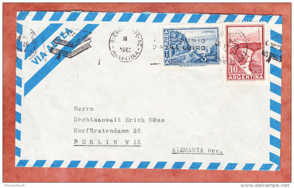 Luftpost, Landschaftsbilder, Band-MS Buecher Buenos Aires, Nach Berlin 1962 (82996) - Argentinien