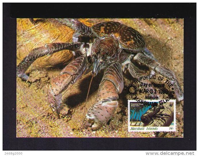 COCONUT CRAB ( Birgus Latro ) Der Palmendieb Araignées Faune Animals Carte Maximum Cards 1986 WWF MARSHALL Islands Mc493 - Marshall