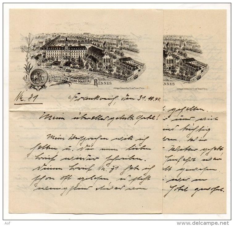 D671 Correspondance Allemande RENNES Institution Saint-Martin - 1939-45