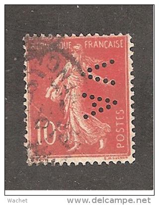 Perforé/perfin/lochung France No 138 AV  L'Abeille Assurance Vie   /  Alfred Videau - France