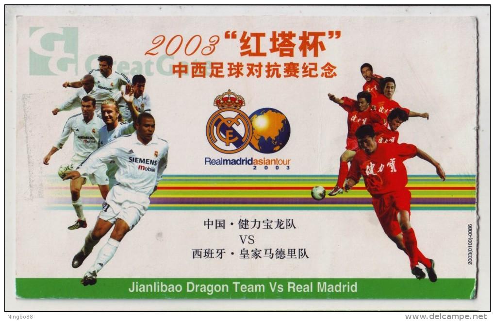 Real Madrid Soccer Club Ronaldo Luiz,David Beckham,Yazid Zidane,Raul Gonzalez,Roberto Carlos,Luis Figo,CN 03 PSC - Famous Clubs
