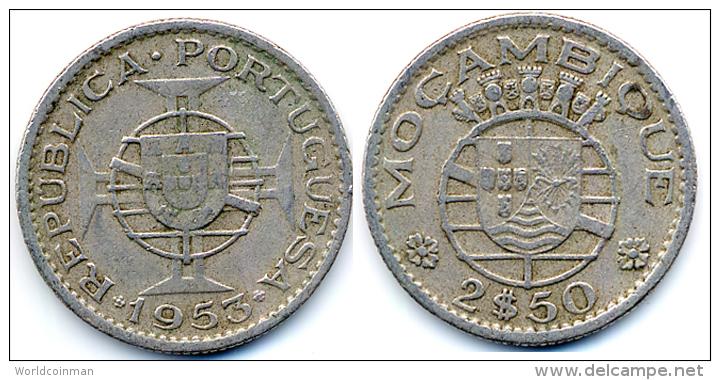 1953 Mozambique 2.5 Escudos Coin - Mozambique