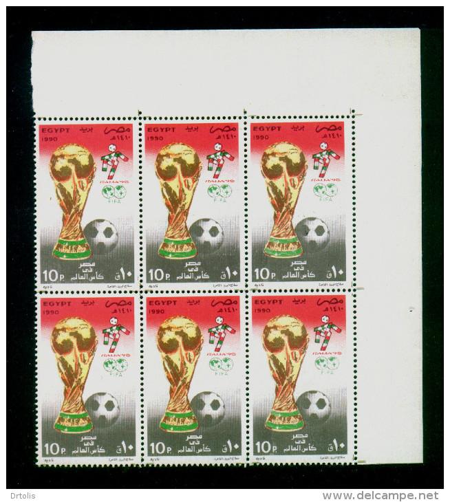EGYPT / 1990 / SPORT / FOOTBALL / WORLD CUP FOOTBALL CHAMPIONSHIP ; ITALY / FLAG / TROPHY / MNH / VF - Nuevos