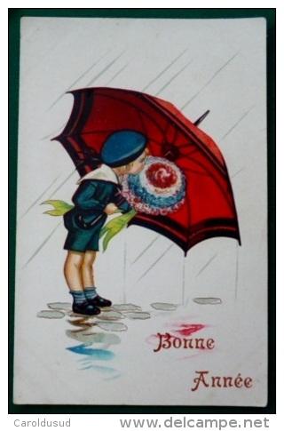 Litho Aquarelle ILLUSTRATEUR EBNER ? SVD S.V.D. 3576/1 Enfant Garcon SEUL Sous Parapluie Avec Gros Bouquet Fleurs 1922 - Ebner, Pauli