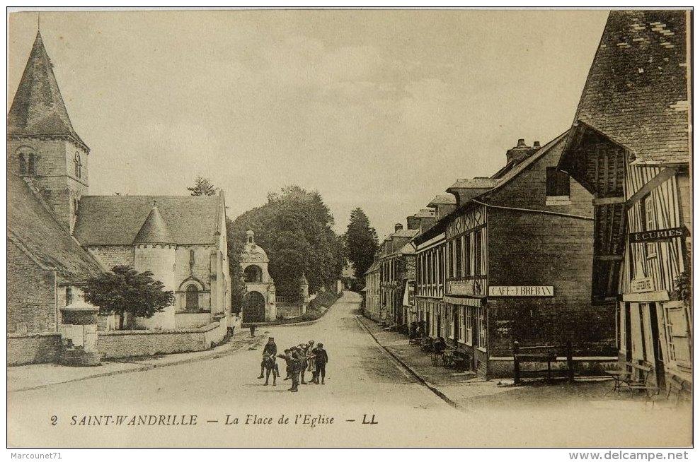 76 CPA SAINT WANDRILLE LA PLACE DE L'EGLISE CIRCULEE 1936 - Francia
