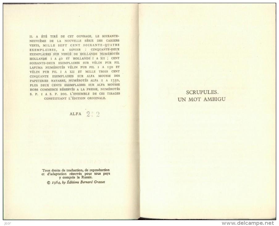 Ce Que Je Crois Par Jean Guéhenno - Les Cahiers Verts 69 - EO Numérotée - 1964 - Books, Magazines, Comics