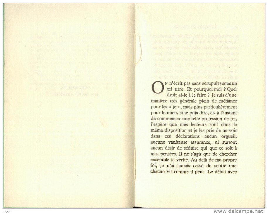 Ce Que Je Crois Par Jean Guéhenno - Les Cahiers Verts 69 - EO Numérotée - 1964 - Classic Authors
