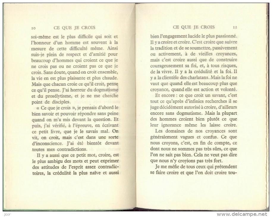 Ce Que Je Crois Par Jean Guéhenno - Les Cahiers Verts 69 - EO Numérotée - 1964 - Auteurs Classiques