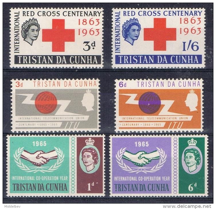 K 855 TRISTAN DA CUNHA  X  YVERT NRS 69/70 + 85/86 + 87/88  ZIE SCAN - Tristan Da Cunha