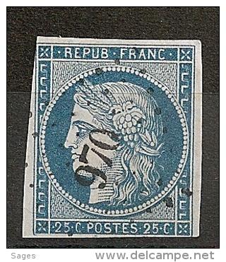 PC 970 LA  COTE ST ANDRE Isère Sur 25c Cérès  II° République. - 1849-1850 Ceres