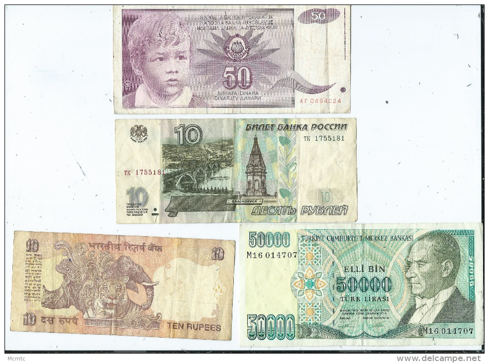 Lot De 10 Billets étrangers   (4 Scans ) - Bankbiljetten