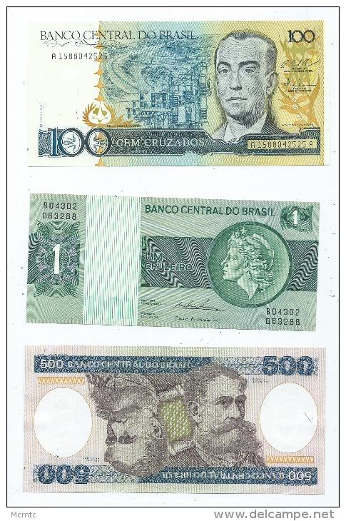 Lot De 3 Billets Du Brésil   (2 Scans ) - Brésil