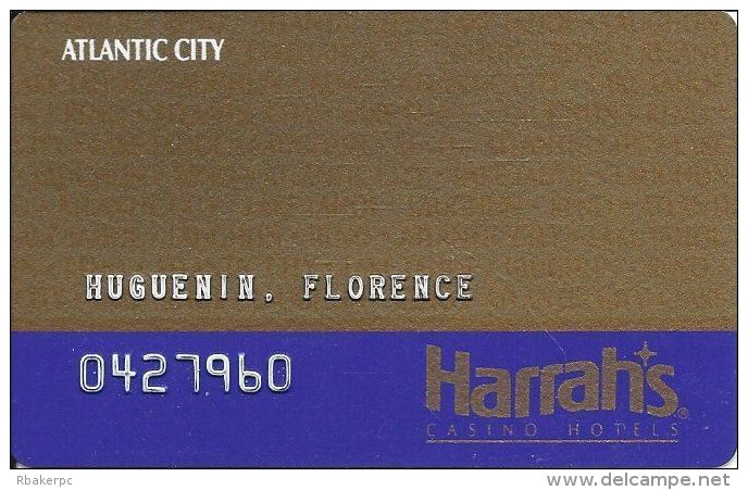 Harrah´s Casino Atlantic City NJ - 7th Issue Slot Card With Faraday On Back - Casino Cards