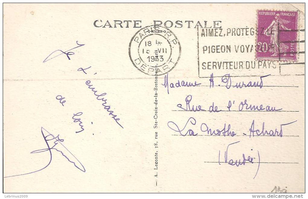 AIMEZ , PROTEGEZ LE PIGEON VOYAGEUR SERVITEUR DU PAYS Sur 190 Du 18 VII 1933 - Marcophilie (Lettres)