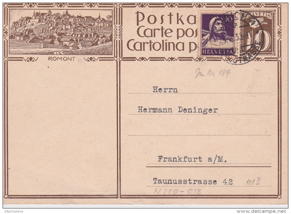 SUISSE  1930 ENTIER POSTAL DE ZURICH - Interi Postali