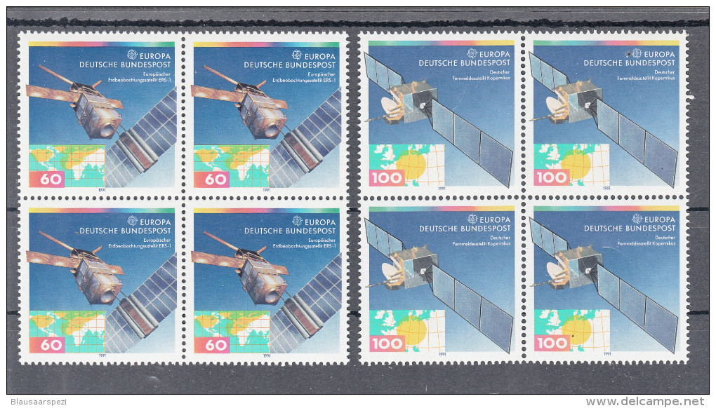 5962 ) Free Shipping To // Germany 1991 - Europe 1991: Space Flight 2 Stamp Blocks Of Four MNH / ** - Space