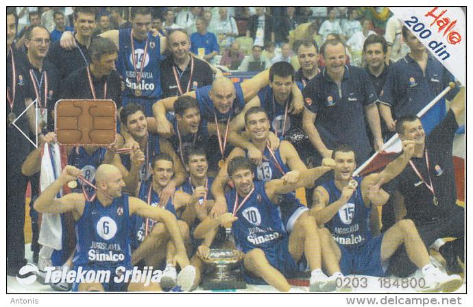 SERBIA - Jugoslavija National Basketball Team, Telecom Srbija 200 Din, 08/02, Used - Joegoslavië