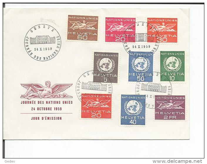 Lettre Journée Des Nations Unies, Série ONU Zst 22 - 30 (24.10.59) - Service