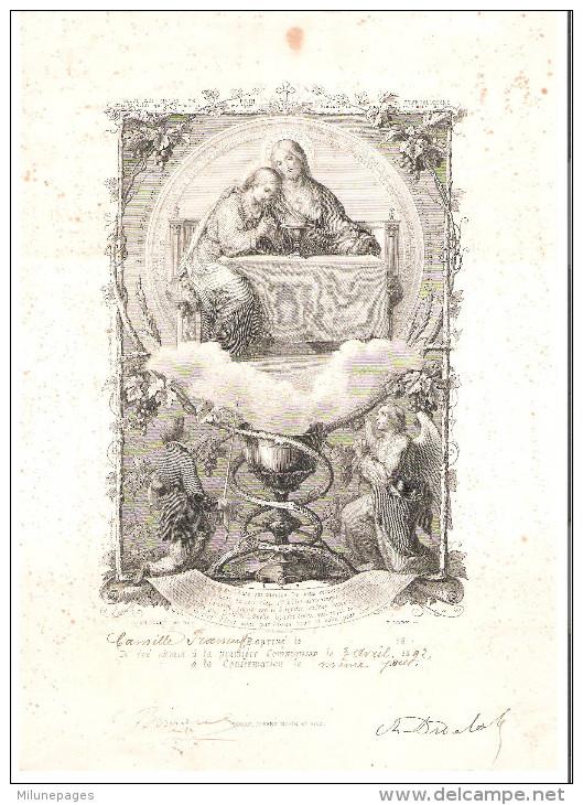 Grande Attestation De Communion Et Confirmation 1892 - Imágenes Religiosas