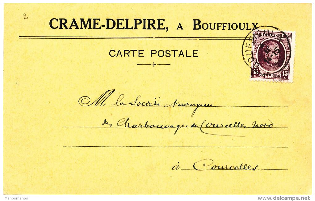 386/23 - Carte Privée TP Houyoux BOUFFIOULX 1925 Vers COURCELLES - Entete Ets Céramiques Crame-Delpire - 1922-1927 Houyoux