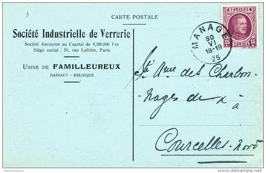 389/23 - Carte Privée TP Houyoux MANAGE 1925 Vers COURCELLES - Entete Verrerie De FAMILLEUREUX - 1922-1927 Houyoux
