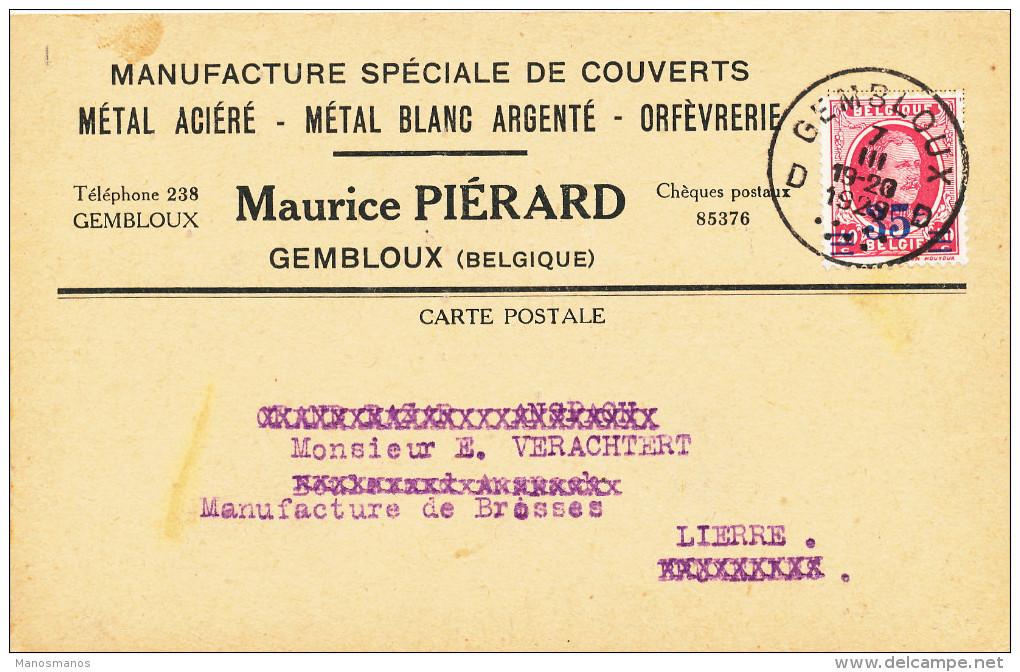 390/23 - Carte Privée TP Houyoux GEMBLOUX 1929 Vers LIERRE - Entete Manufacture De Couverts Piérard - 1922-1927 Houyoux