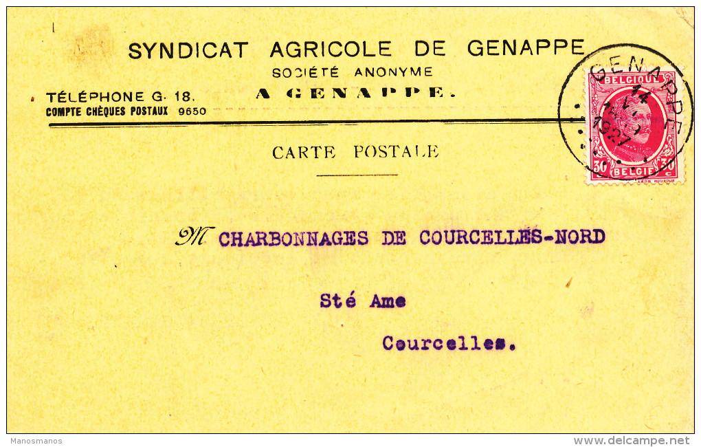 391/23 - Carte Privée TP Houyoux GENAPPE 1927 Vers COURCELLES - Entete Syndicat Agricole De Genappe - 1922-1927 Houyoux