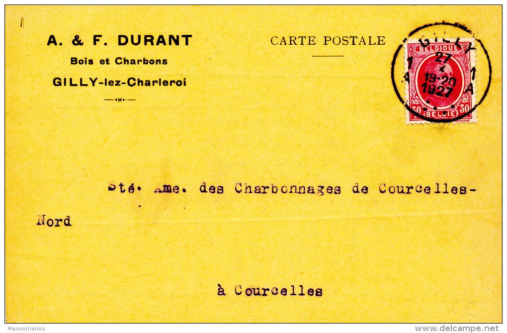 392/23 - Carte Privée TP Houyoux GILLY 1927 Vers COURCELLES - Entete Durant , Bois Et Charbons - 1922-1927 Houyoux
