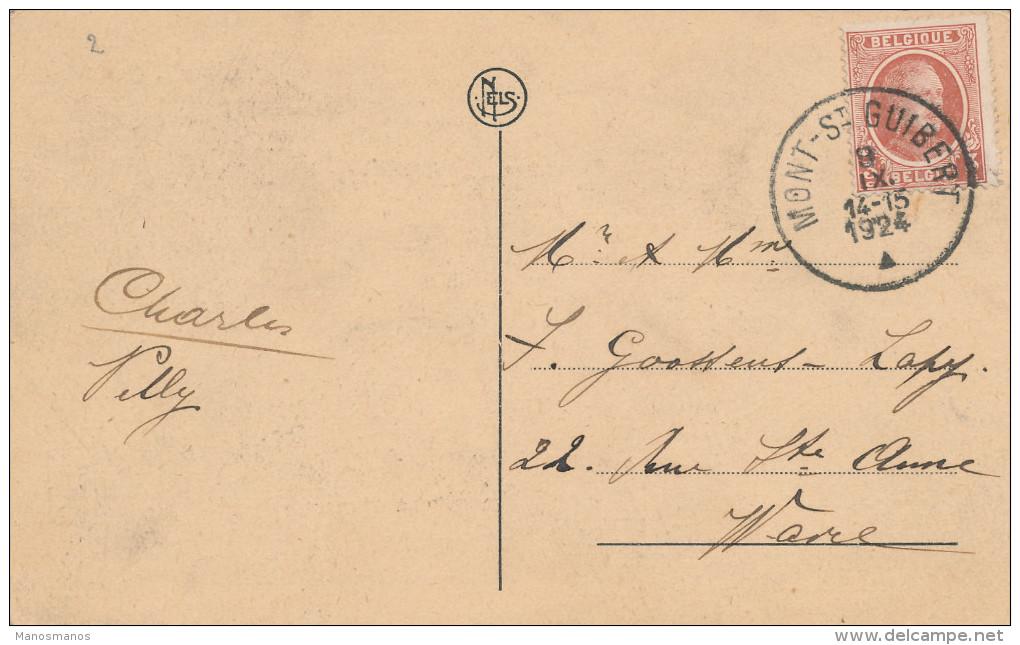 266/22 - Carte-Vue Banque Centrale De La Dyle TP Houyoux MONT ST GUIBERT 1924 Vers WAVRE - 1922-1927 Houyoux