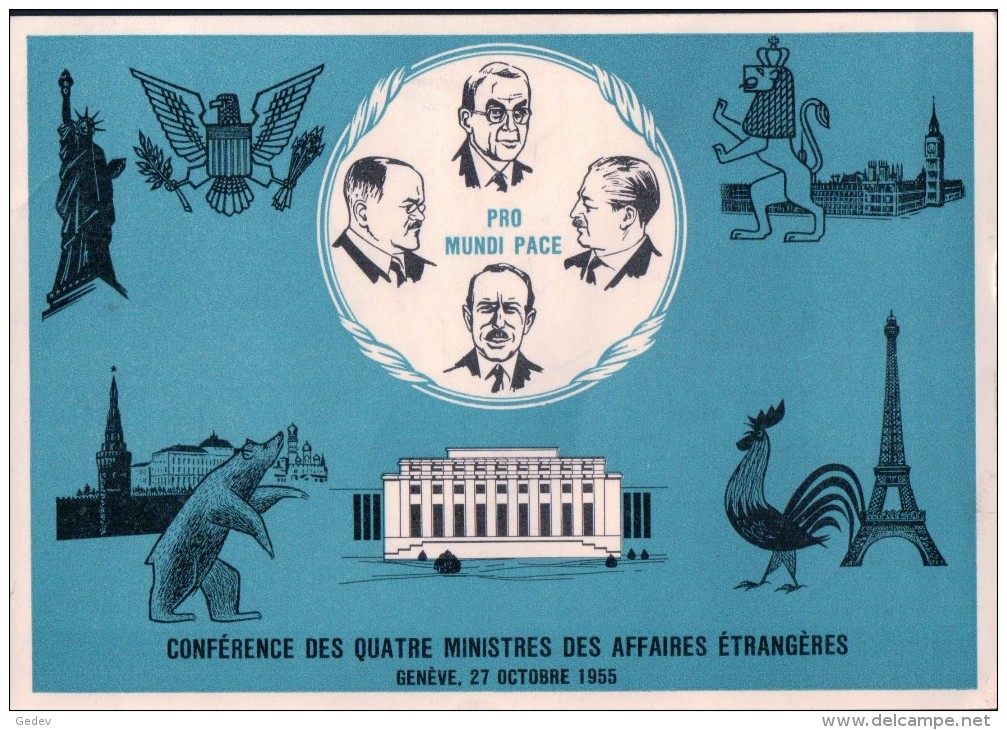 Nations Unies Genève, Conférence Des 4 Ministres: Foster Dulles-Molotov-Macmillan-Pinay Série ONU Zst 21-27 (11.11.55) - Service