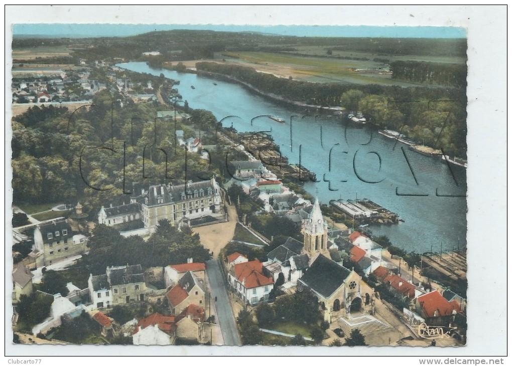 Conflans-Sainte-Honorine (78) :  Vue Générale Aérienne Au Niveau Du Quartier Du Château Et De L´église En 1960 (anim GF. - Conflans Saint Honorine