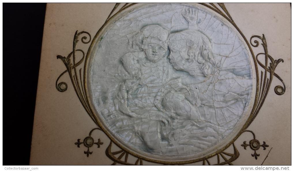 High Embossing Porcelain Like Cherub Angel Cupid Girl Art Nouveau Vintage Original Ca1900 Postcard Cpa Ak (W4_1982) - Cartoline Porcellana