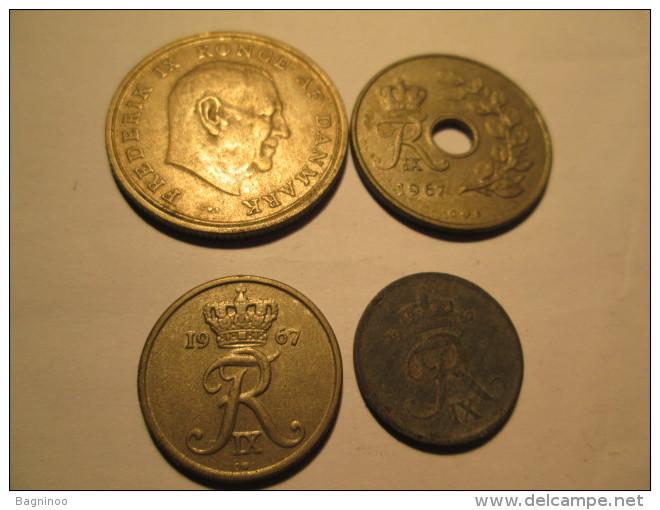 DENMARK 1 Krone 1970 25 Ore 1967 10 Ore 1967 1 Ore  # 3 - Denmark