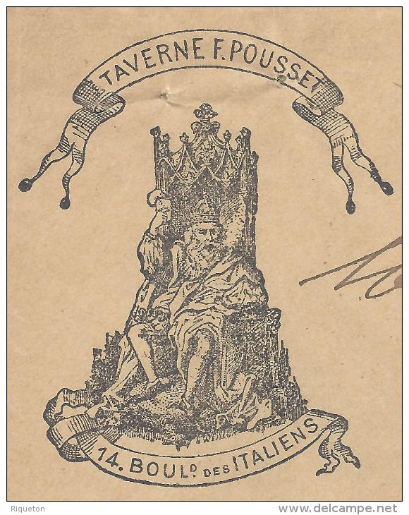 """FR - 1902 -  ENVELOPPE ILLUSTREE """" TAVERNE F. POUSSET """" CORRESPONDANCE DE PARIS VERS VANVES - - Postmark Collection (Covers)"""