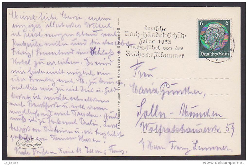 Stuttgart MWSt. Deutsche Bach-Händel-Schütz Feier 1935, Reichsmusikkammer Fotokarte Neue Weinsteige Mit Straßenbahn - [6] Oost-Duitsland