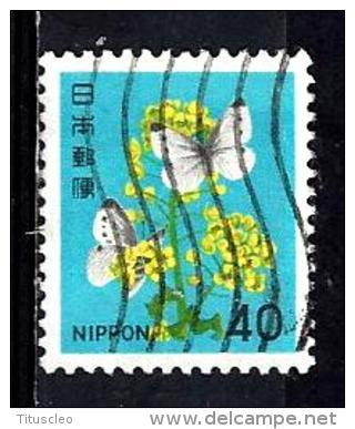 JAPON 1344° 40y Polychrome Série Courante Fleurs  Colza Et Piéride Du Choux (10% De La Cote + 0,15) - 1926-89 Emperor Hirohito (Showa Era)