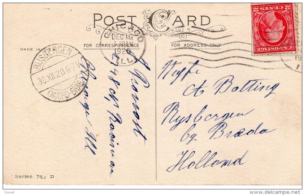 Lange Balk Romeinse Maand RIJSBERGEN (NOORD-BRABANT) Op   Kerstkaart UitChicago - Postal History