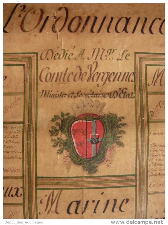 ETAT DES TROUPES ET DE LA MARINE DE FRANCE , ORDONNANCE JANVIER 1773- EXCEPTIONNELLE PLANCHE DETAILLEE  !!!! - Uniformen