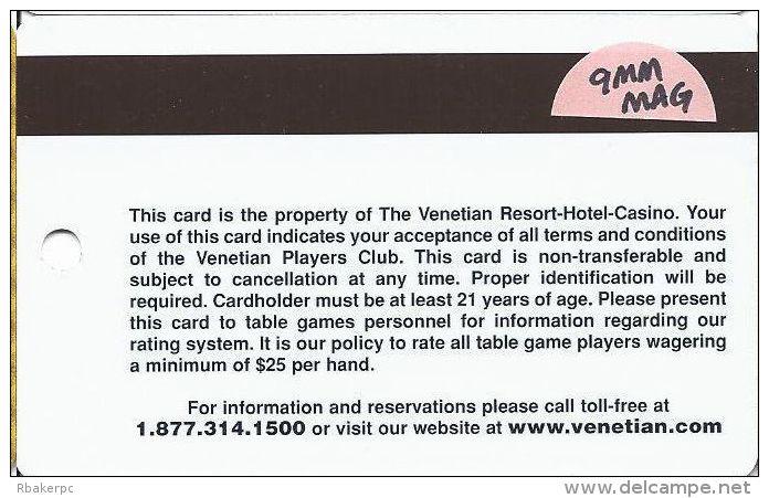 Venetian Casino Las Vegas 5th Issue Players Club Gold Slot Card - 9mm Mag Stripe - Casino Cards