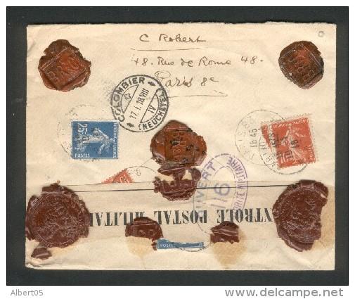 Lettre De Paris Pour La Suisse (Colombier) - Valeur Déclarée - Ouvert Autorité Militaire N° 116 (Pontarlier) - Marcophilie (Lettres)