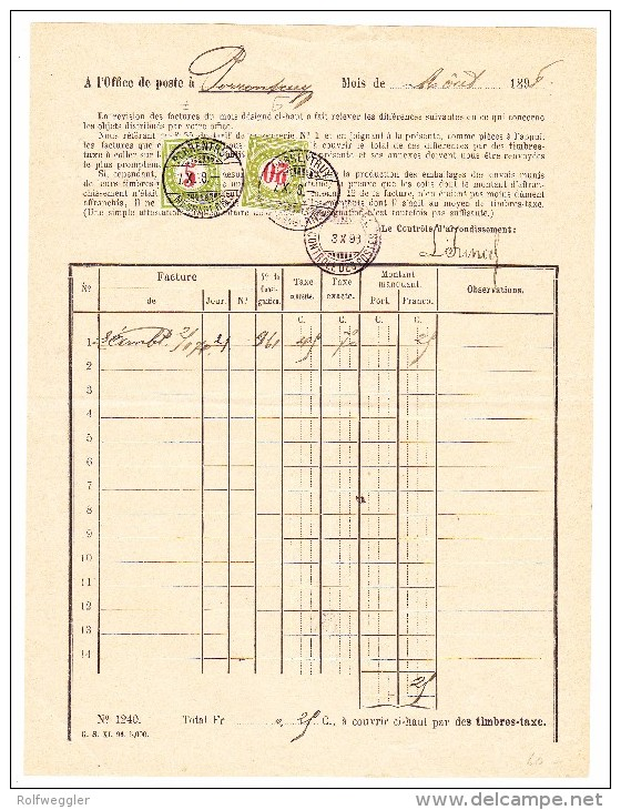 Heimat JU PORRENTRUY 7.10.1898 Poststelle Beleg Mit 5 Und 20Rp. Porto Marke - Portomarken