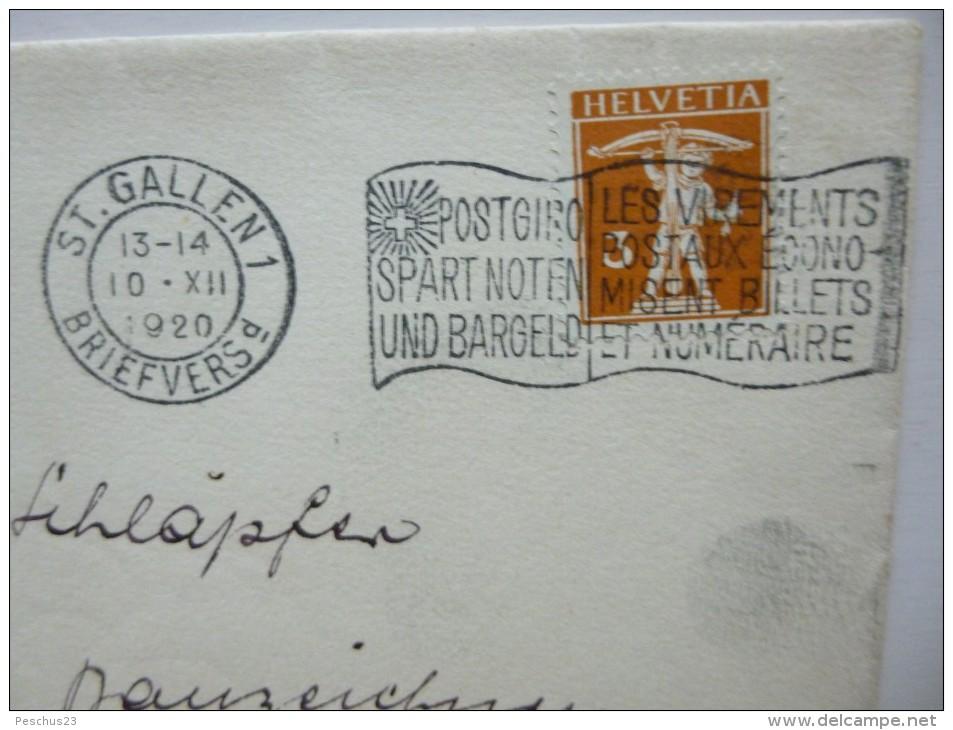 SUISSE / SCHWEIZ / SVIZZERA / SWITZERLAND // 1920, Lettre - Brief, 3Rp Tellknabe,  ST.GALLEN => ST.GEORGEN / Werbeflagge - Lettres & Documents