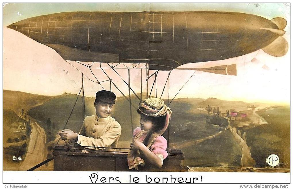 [DC2448] CARTOLINA - AVIAZIONI - DIRIGIBILE - VERS LE BONHEUR - Viaggiata - Old Postcard - Dirigibili