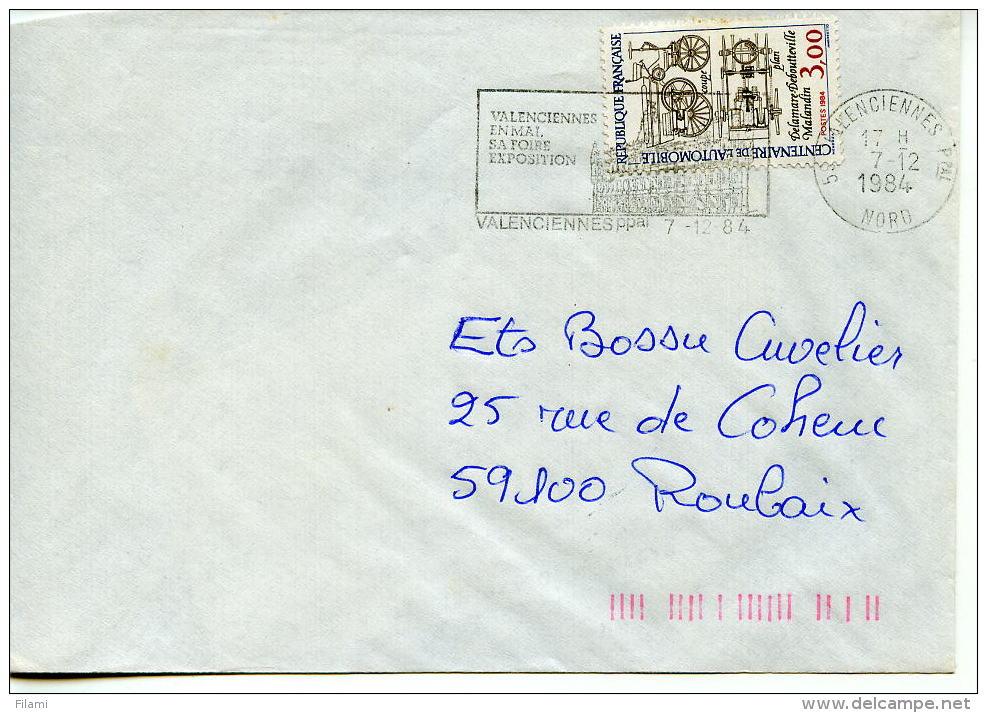 Transport,automobile,Centenaire De L'automobile 3.00 Fr Seul Sur Lettre Obliterée Valenciennes 7.12.1984 - Marcophilie (Lettres)