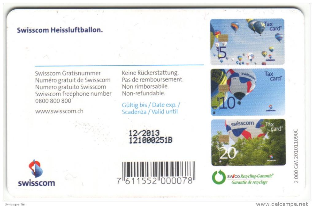 613 - CHF 20 Swisscom Heissluftballon - Schalterkarte Mit Kleinster Auflage - Suisse