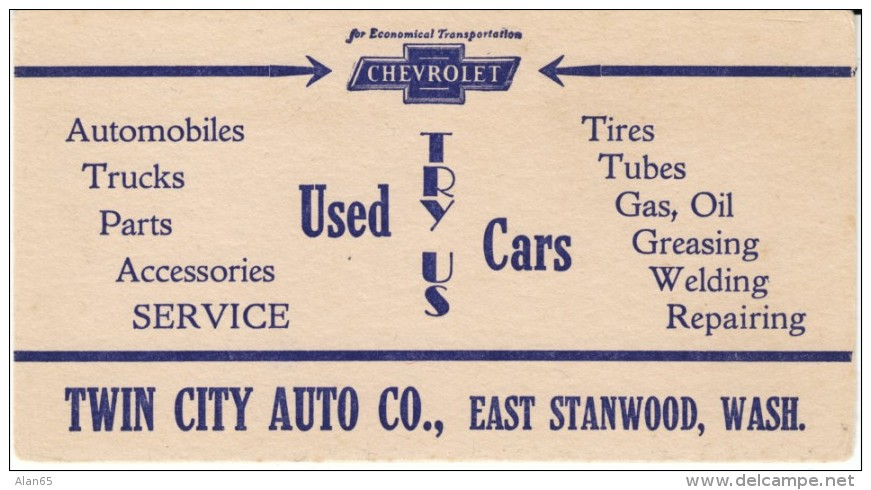 East Stanwood Washington Chevrolet Used Auto Dealer Ink Blotter, Twin City Auto Company Advertisement - Other